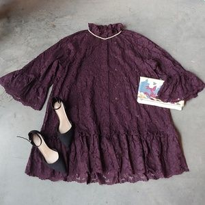 H&M Purple Lace Bell Sleeve Button Down Dress XL
